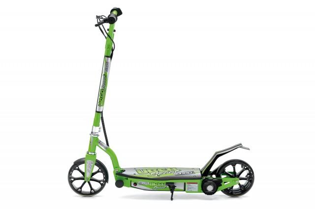 """E-monopattino """"E-100"""" 100 watt 199,00 € Velocità max: 10 Km/h Autonomia: 8 Km Portata max: 50 Kg Colori disponibili: Verde, rosa"""